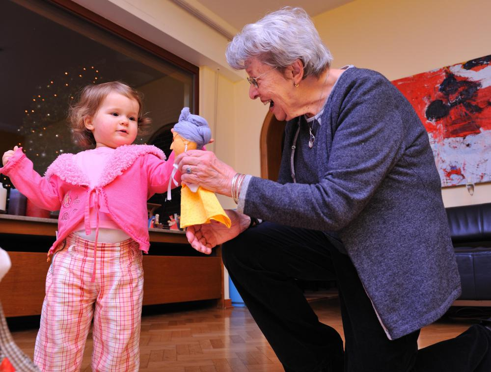 Playing with children may help lift the spirits of an elderly person suffering from depression.