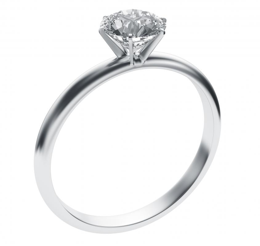 A diamond engagement ring.