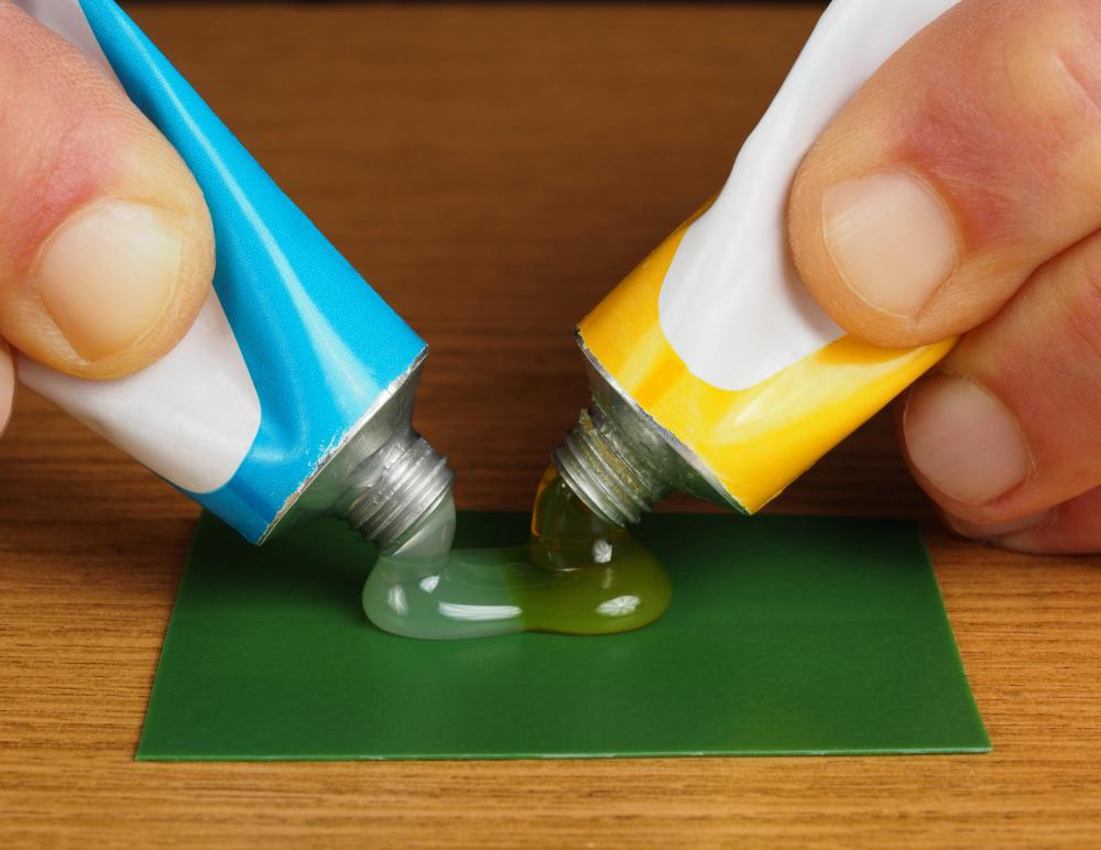 Epoxy resin comes in two tubes that is mixed right before use.