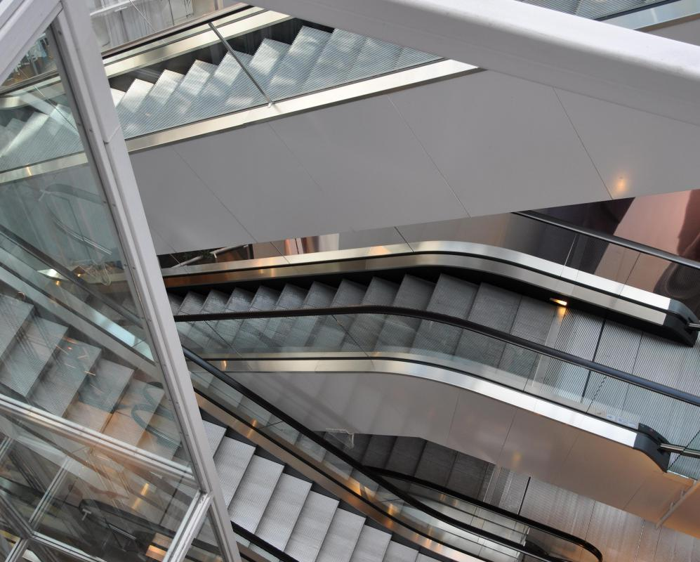 Escalators are built on the fundamental design of a conveyor belt.