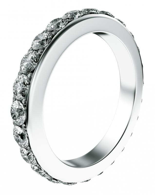 An eternity ring made with wholesale diamonds.