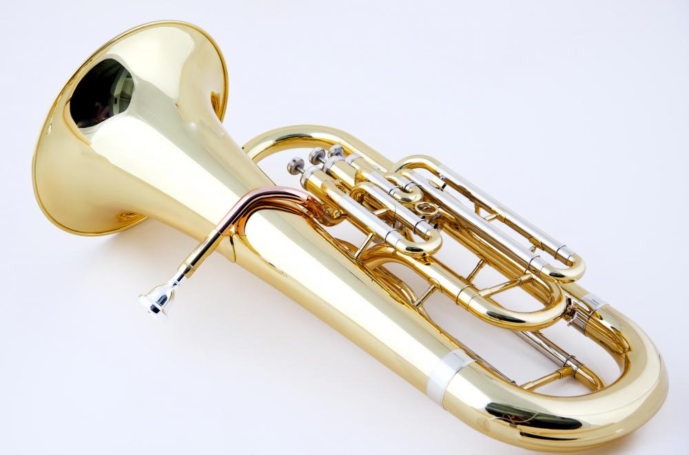 A euphonium plays a slightly higher range of notes than the tuba.