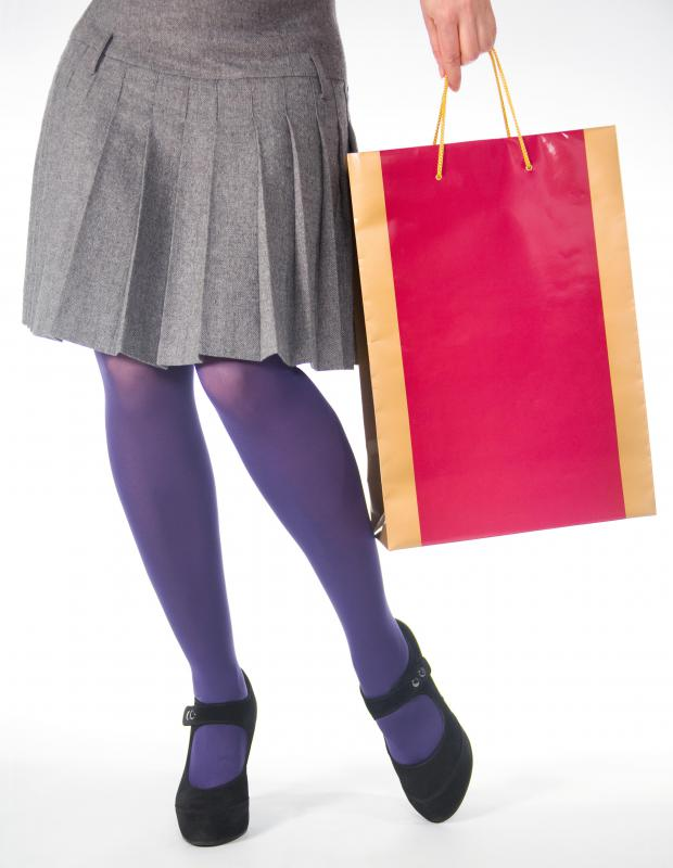 Woman wearing purple tights.