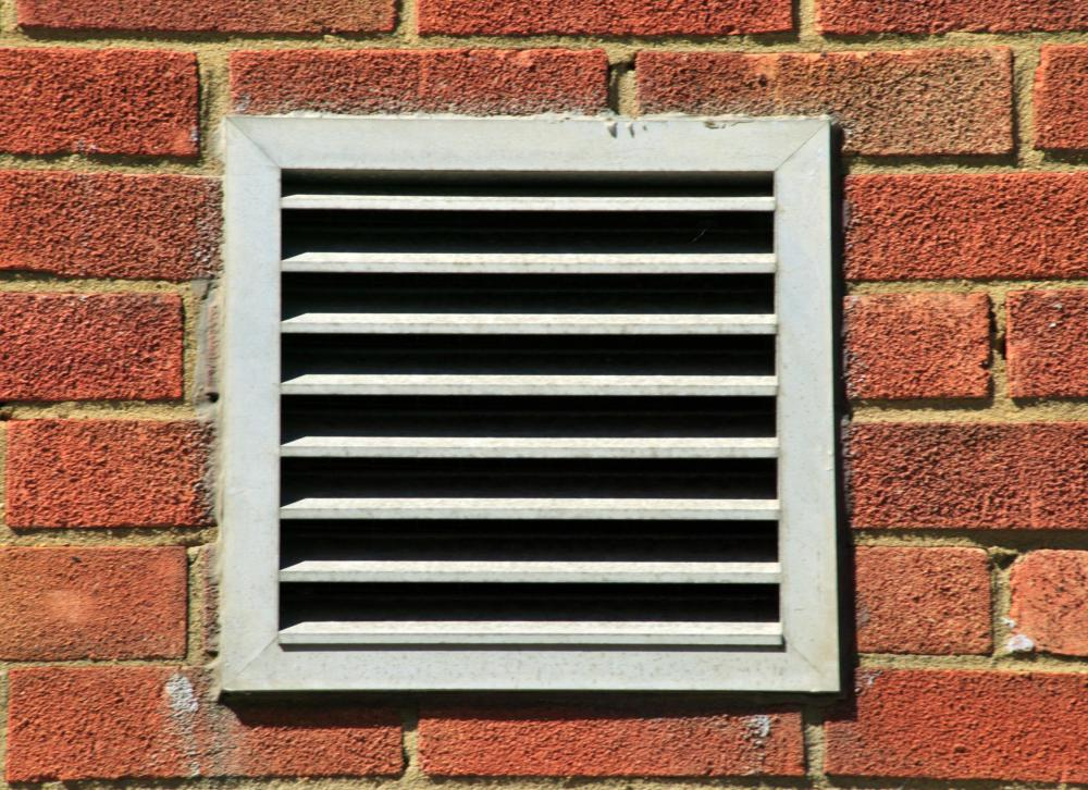 Exterior wall vent leading to an air duct.