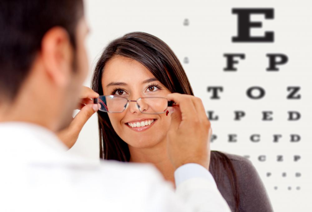 Optician training includes learning to properly fit eyeglasses.