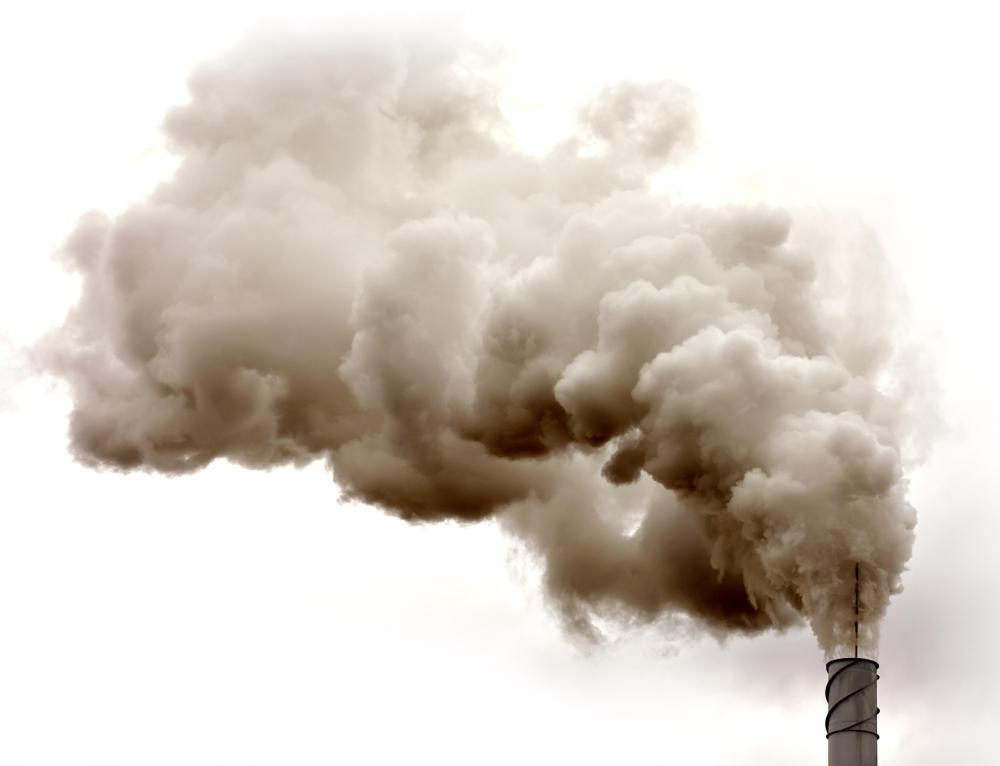 Many factories produce emissions, which become airborne particles.