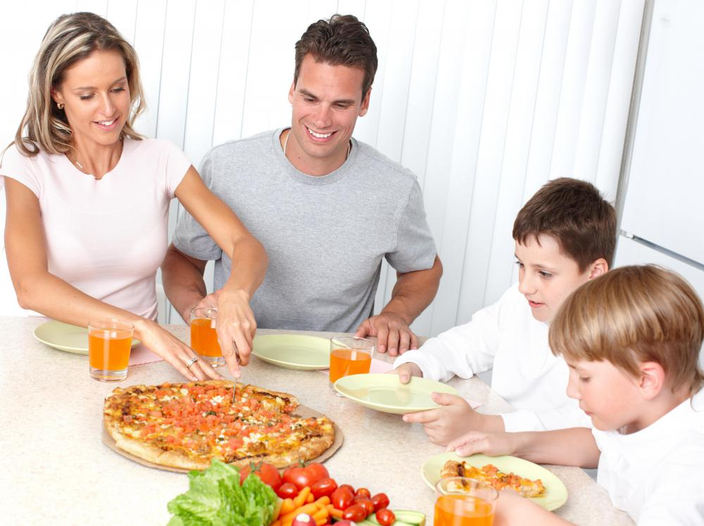 Research shows that children and adults tend to eat healthier foods when sitting down to a family meal.
