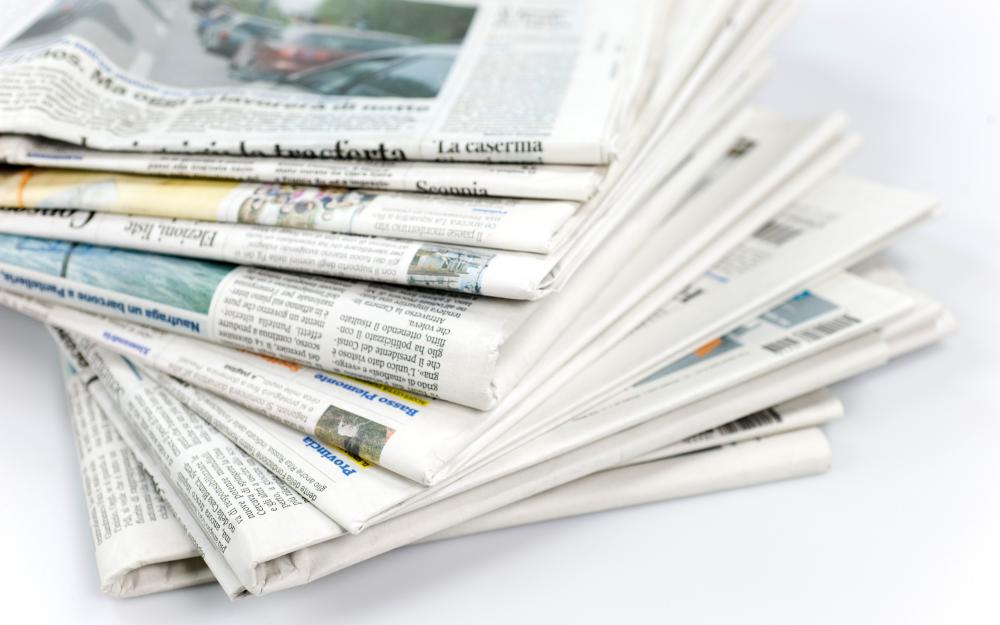 Most newspapers are printed on a thin paper known as newsprint.