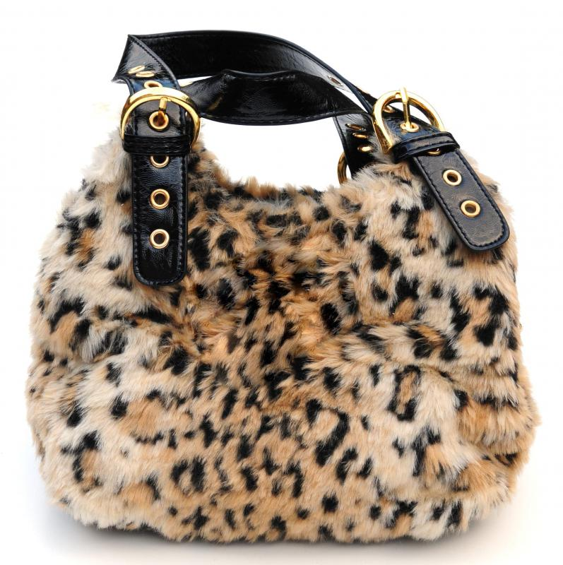 A faux fur purse.