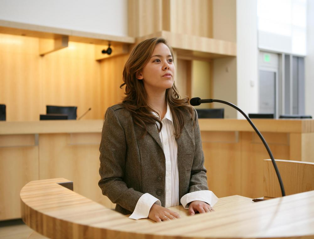 One example of poise is an individual who remains calm and levelheaded during a court hearing.