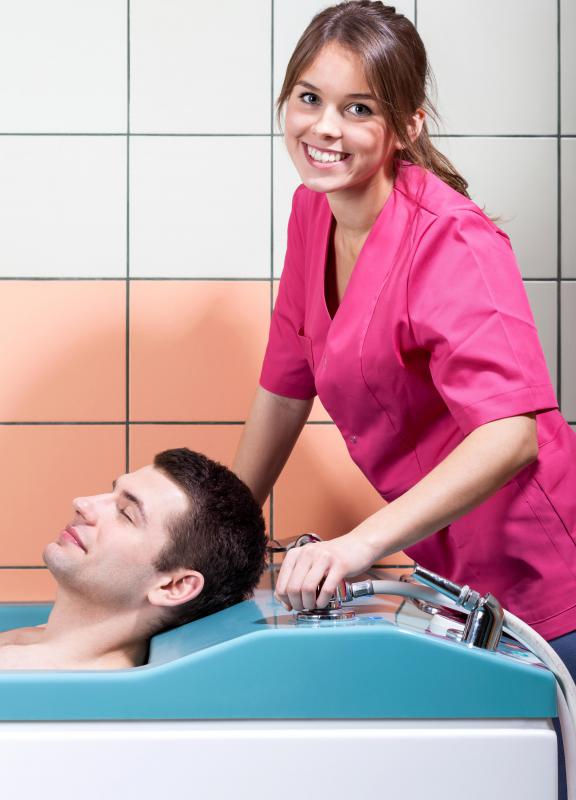 A licensed nursing assistant may assist patients with bathing.