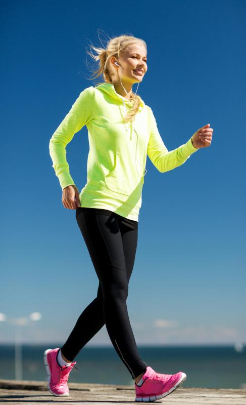 Leggings and a long-sleeved sweatshirt are great for an outdoor workout.