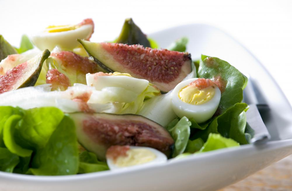 Fig salad with free-range hardboiled eggs.