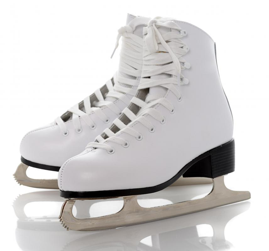 Ice dancing is a routine performed on a rink while wearing ice skates.
