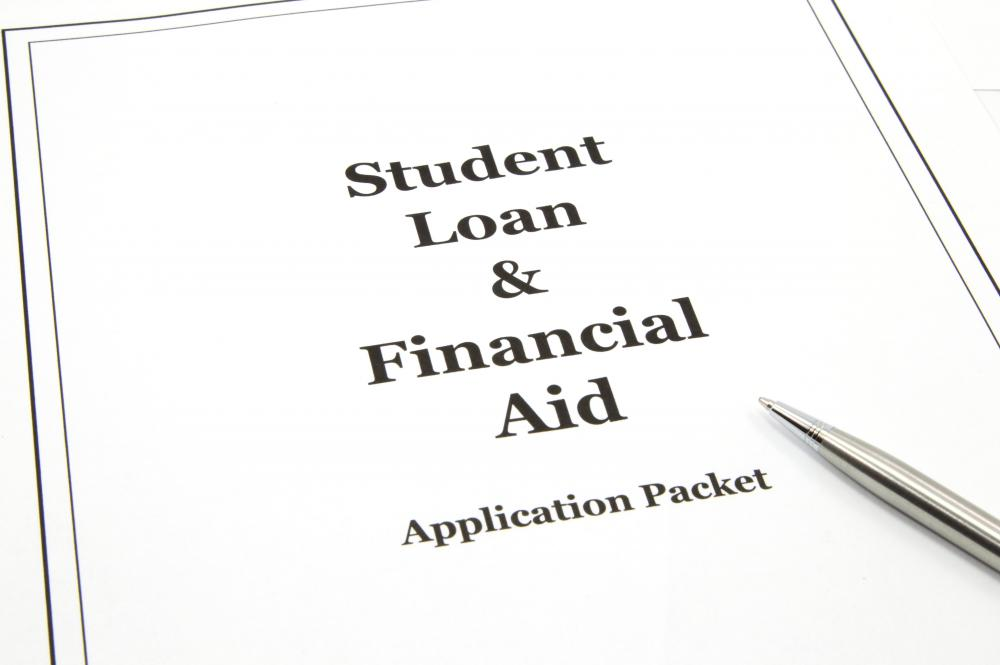 A student loan and financial aid application.