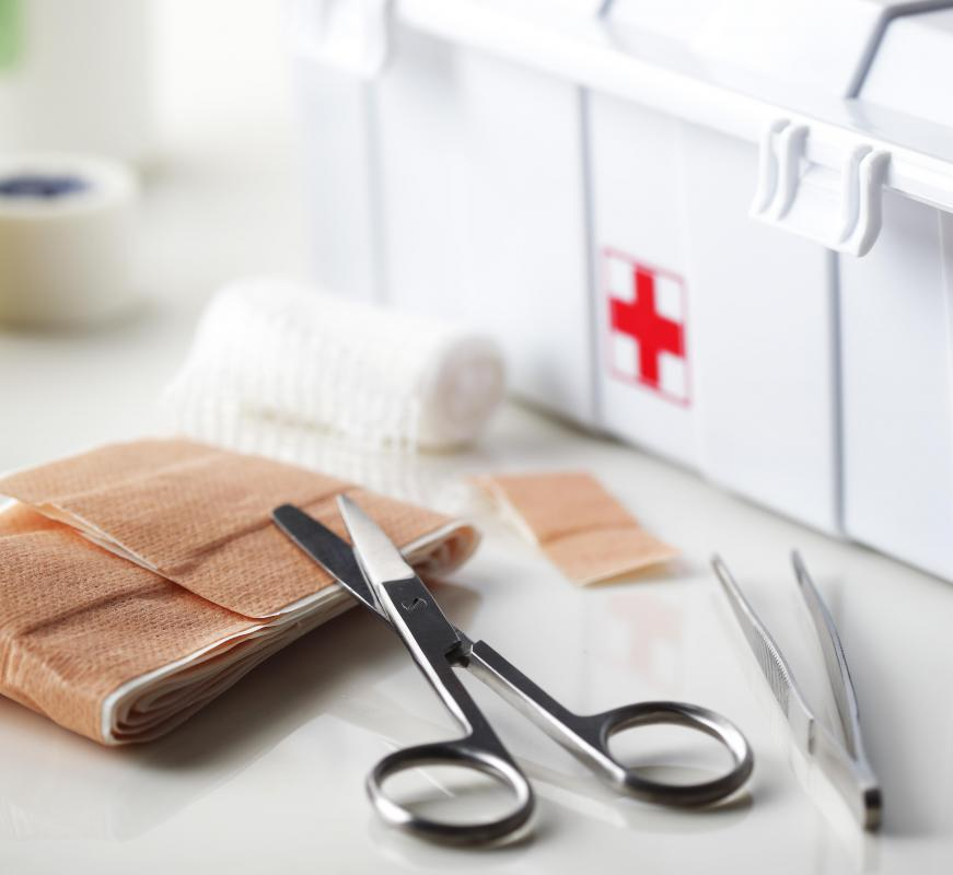 Eye wash supplies might be included in a first aid kit.