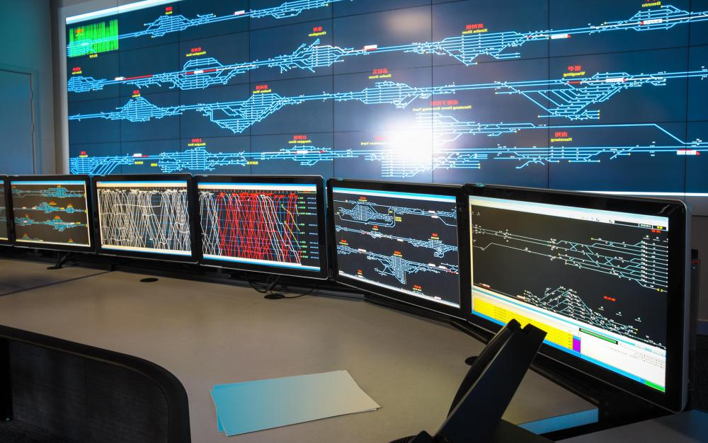 Control room operators and programmers use several screens when working.