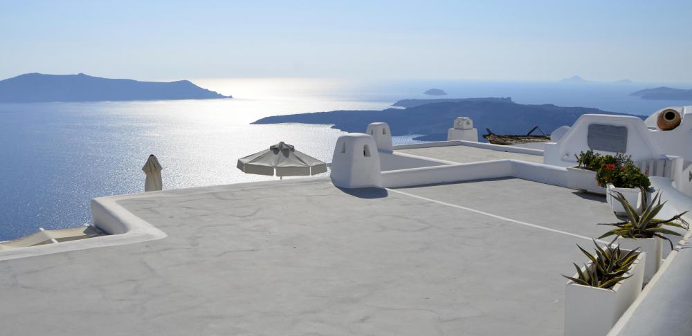 It's possible to visit Santorini and other Greek islands in the Aegean by ferry or boat.