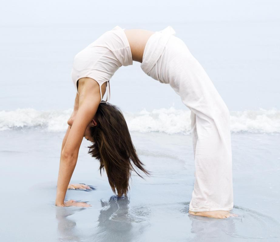 A flexible woman doing yoga.