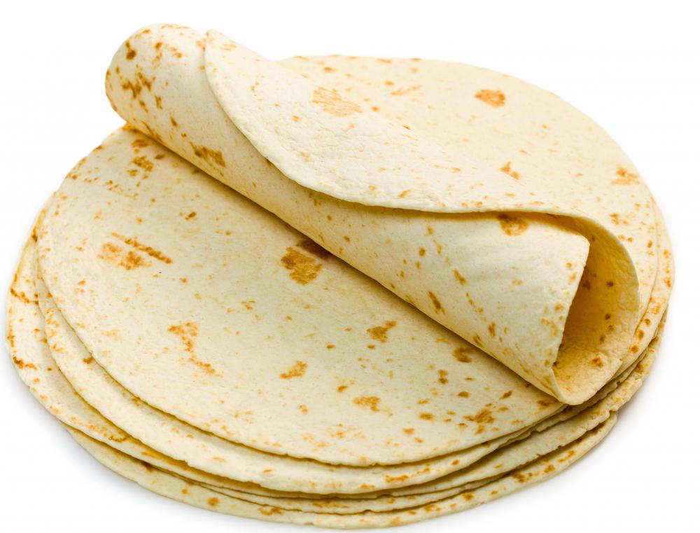 Flour tortillas are most commonly used to make Mexican burritos.