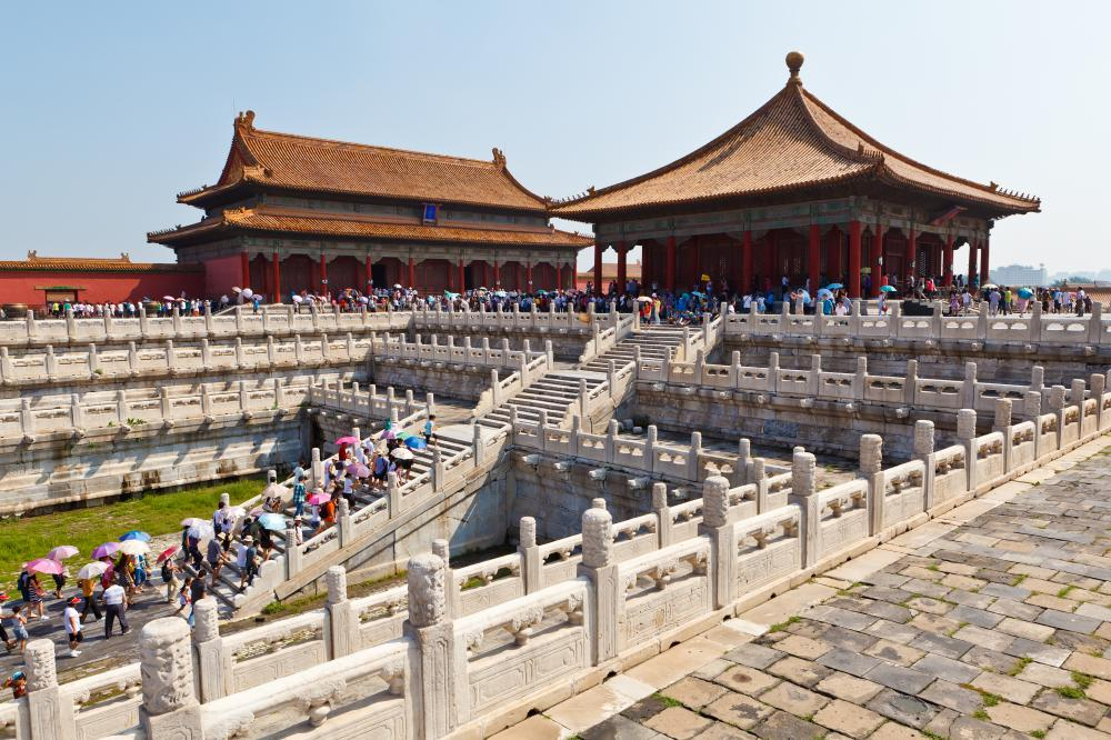 Many tourists take self-guided tours through the Forbidden City in China.
