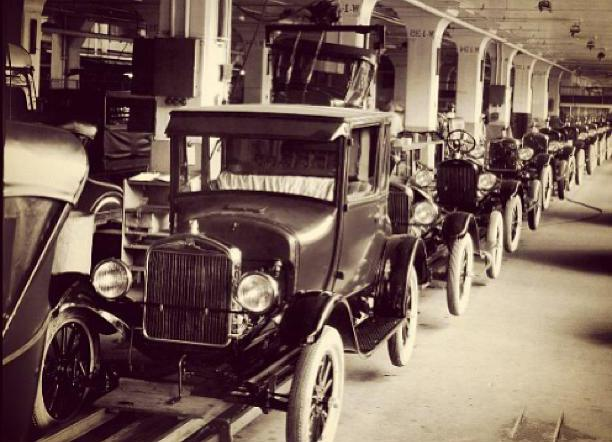 The moving manufacturing line was used to produce Model T cars in the 20th century.