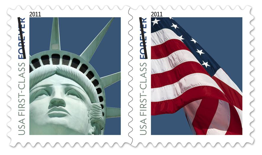 The Statue of Liberty and U.S. flag forever stamps.
