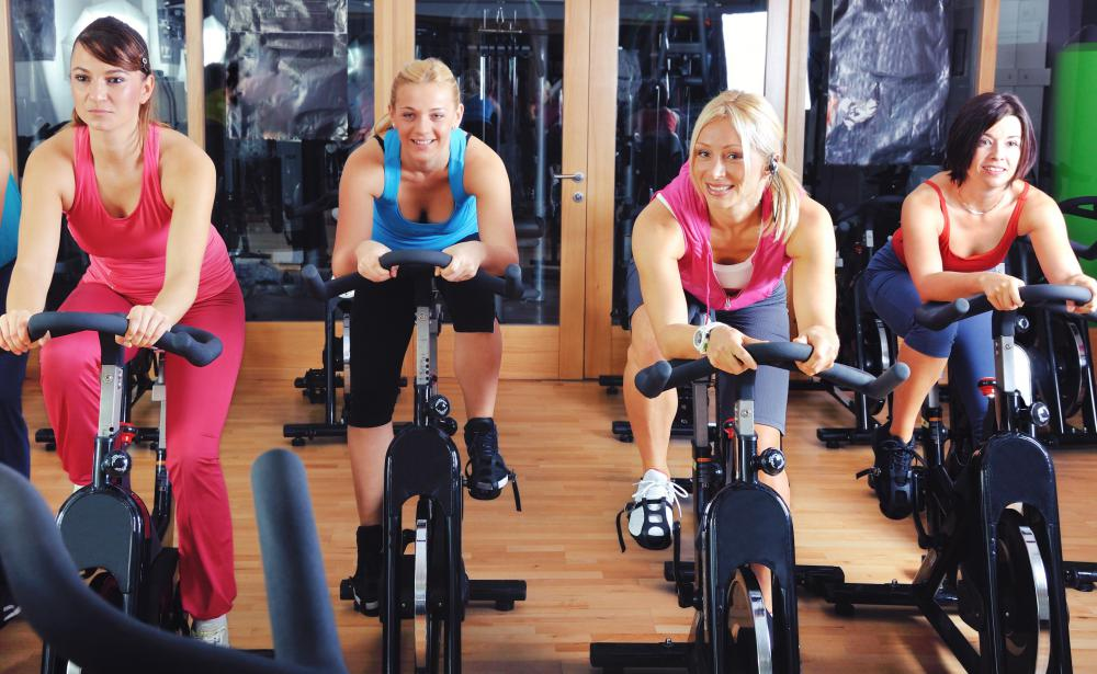 Spinning classes are common type of group fitness class.