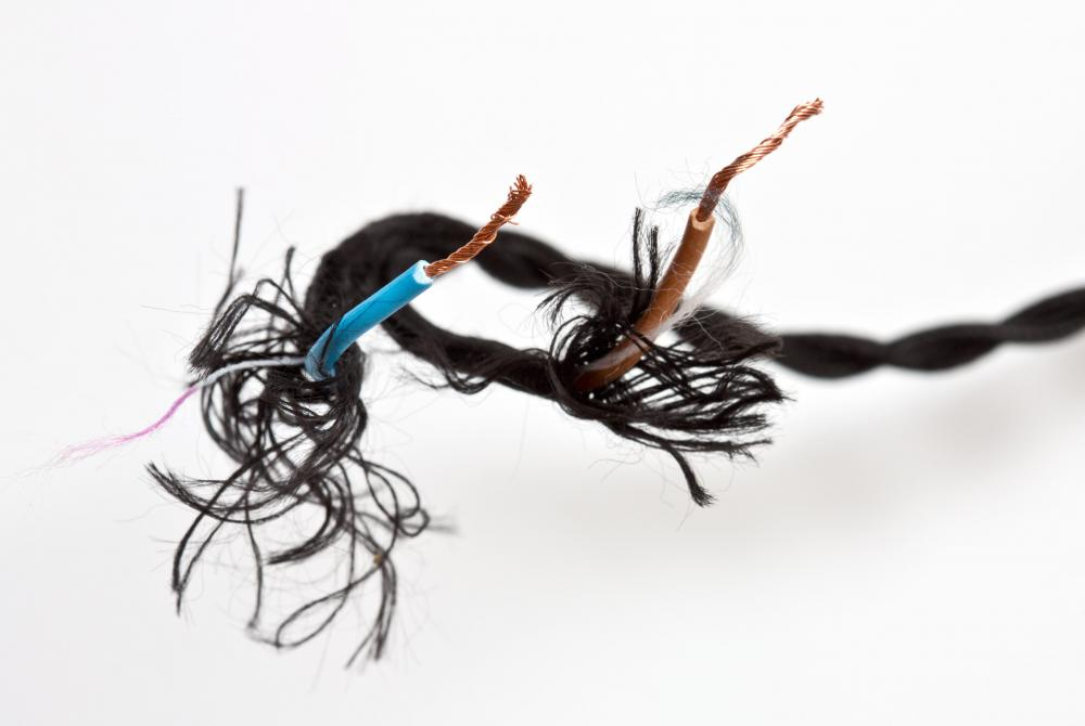 Frayed wires can cause communication problems with a wired network.