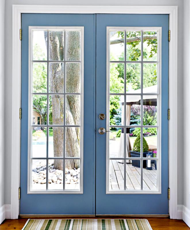 A French door is made up of panes or panels of glass.
