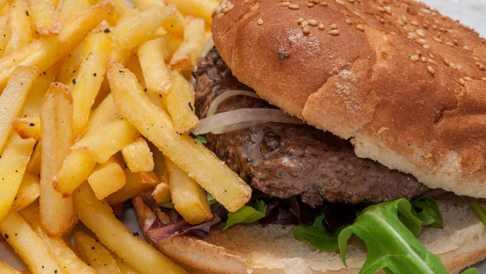Burgers are popular takeout foods.