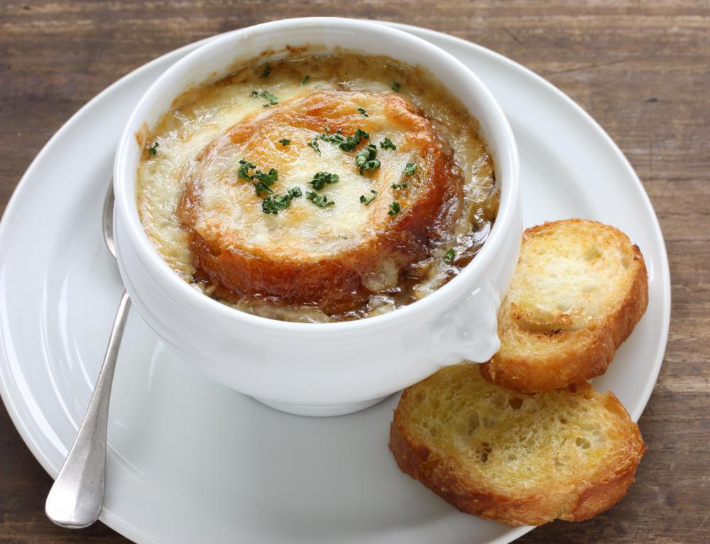 French onion soup is finished in the broiler to melt the cheese.