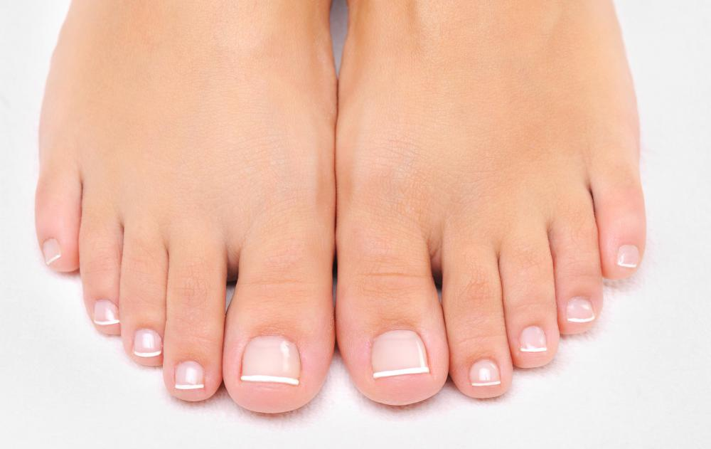 Toenails with a French pedicure.