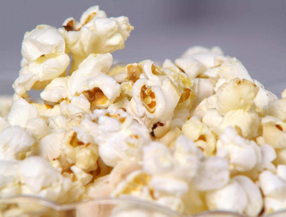 Air popped popcorn with no added butter or salt is a healthy snack.