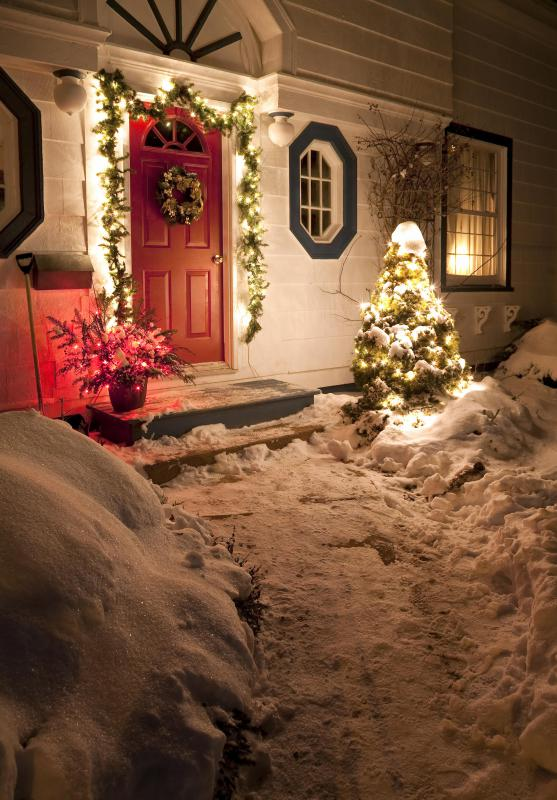 decorating the front door area is a popular christmas custom - Outdoor Christmas Decorations Small House