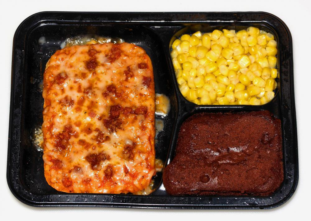 "A ""TV dinner"", which is a pre-cooked frozen dinner for one person, is usually called a frozen dinner today."