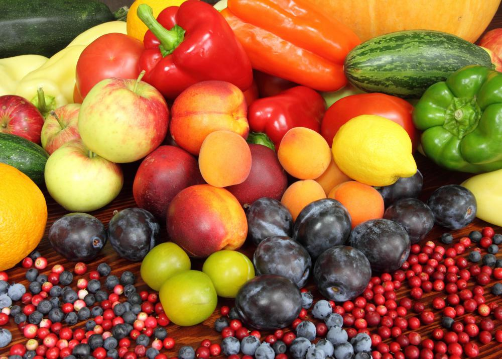 Fruits and vegetables are high in vitamin C.