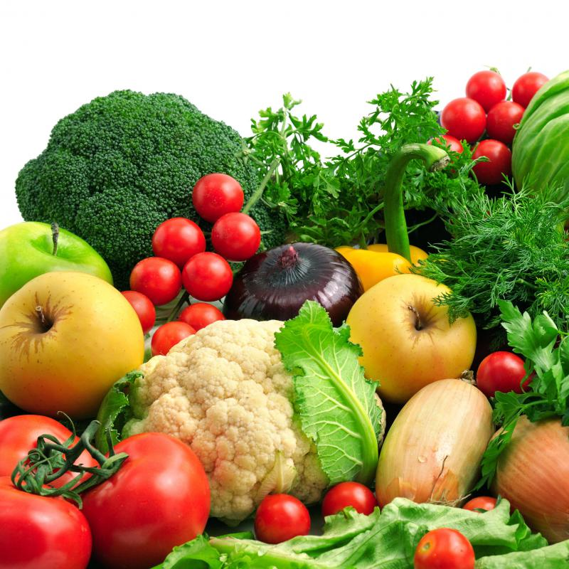 Fruits and vegetables contain a lot of fiber.