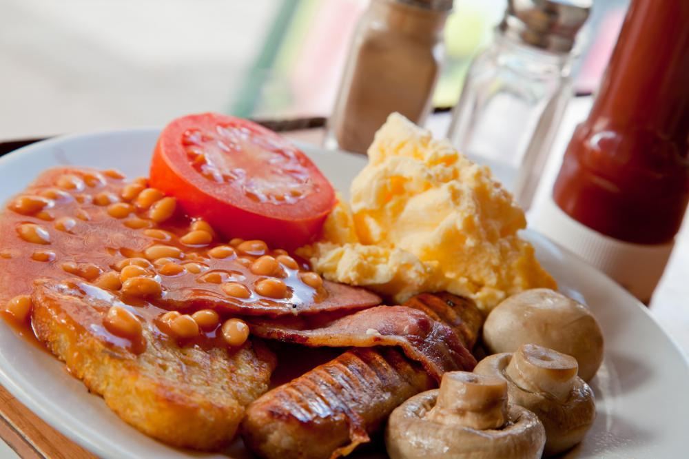 A typical fry up, also known as an English Breakfast.