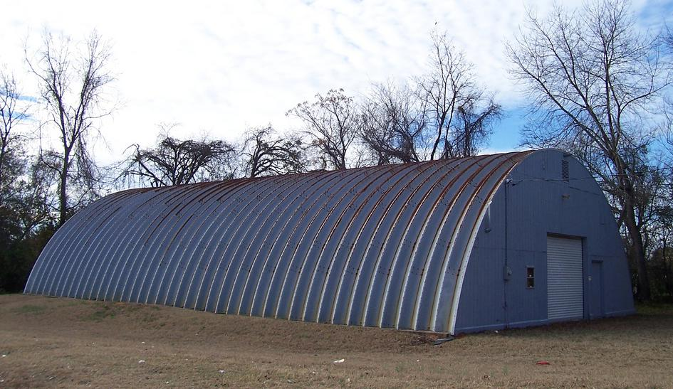 Galvanized steel quonset hut.