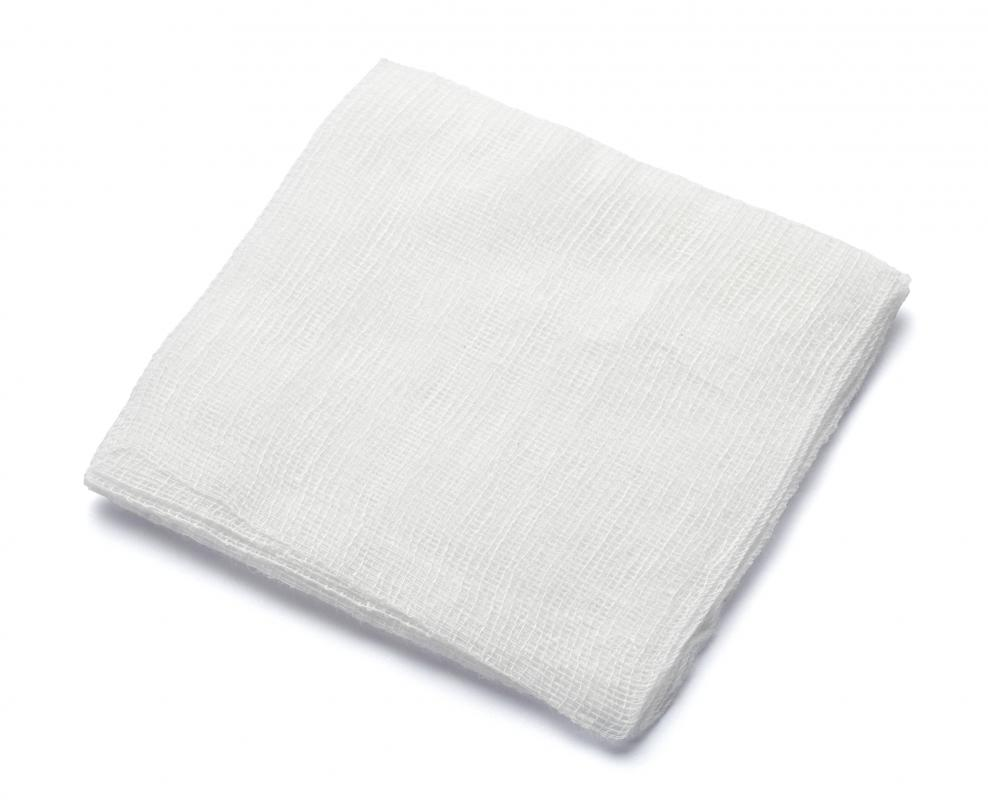 Gauze pads are typically made from light, thin, loosely woven cotton or synthetic fabrics.