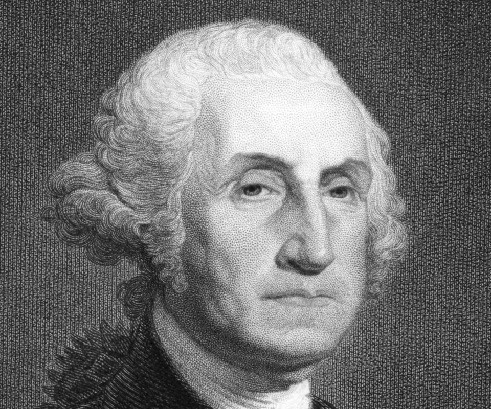 A portrait of George Washington, the first president of the United States and a federal politician.