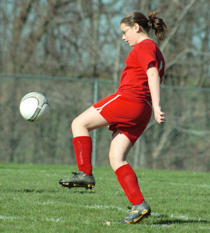 Strong legs are key for a soccer player.
