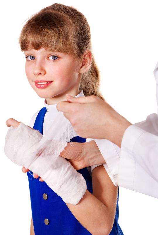 Bandages or a soft cast can be wrapped around a sprained wrist.
