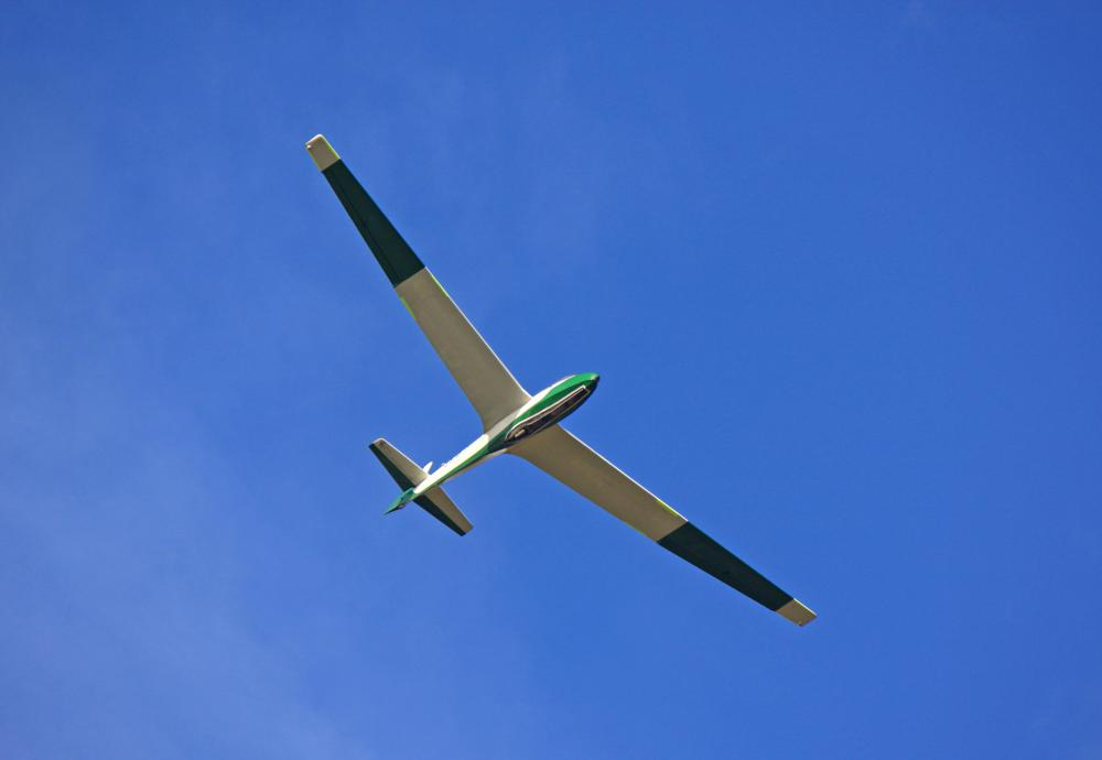 A glider's wings tend to be longer and slimmer than a powered aircraft.