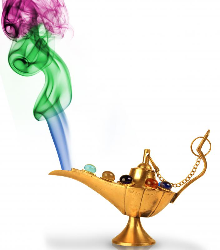 "In the traditional telling of ""Aladdin"", the protagonist was aided by a genie that emerged from an oil lamp."
