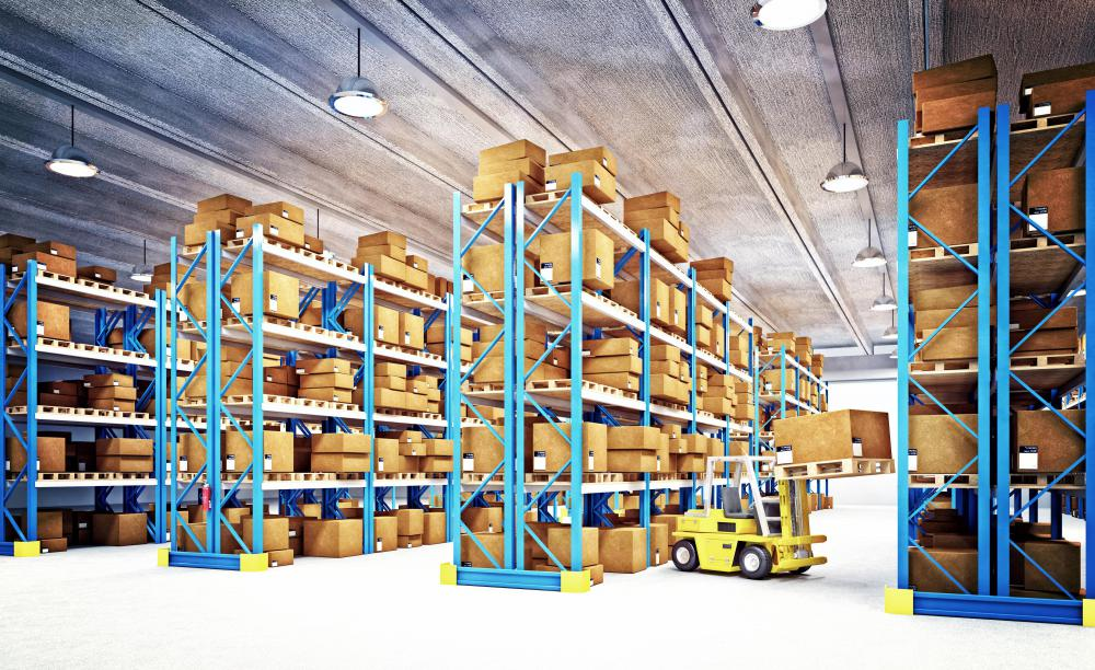 Telescopic forklifts are frequently used in warehouses.