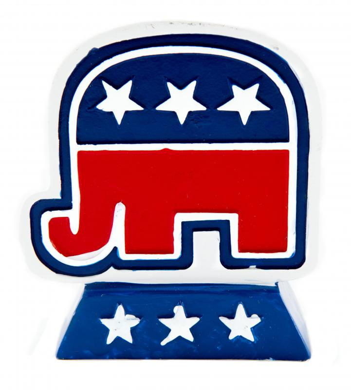Today, the Republican party often incorporates patriotic colors and themes with its elephant logo.