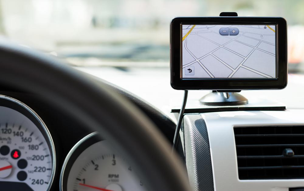 A GPS is a popular navigational electronic device; many come with a built-in road map database.