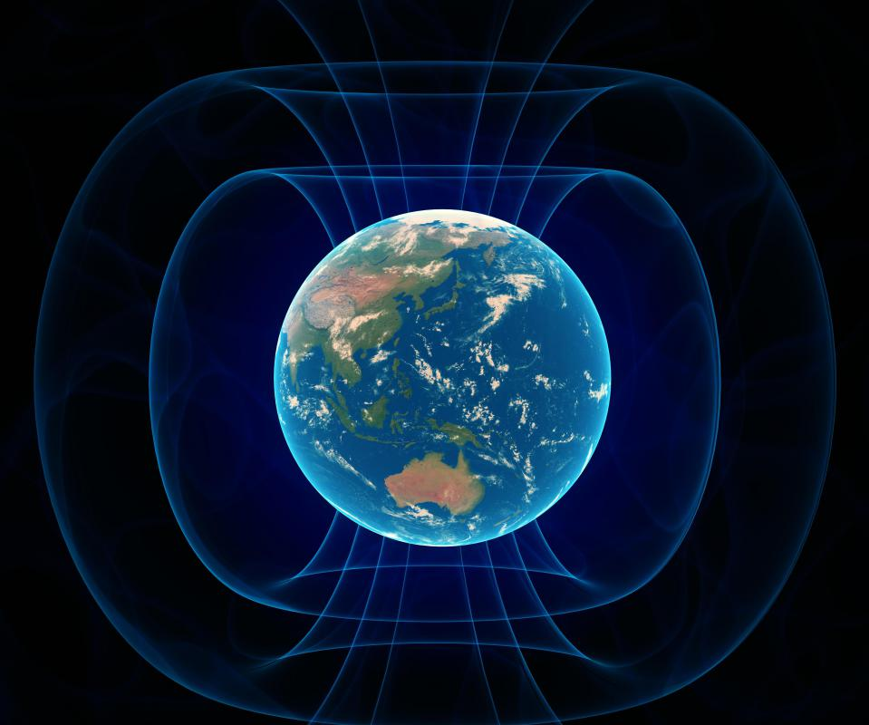 The Earth is surrounded by an electromagnetic field.